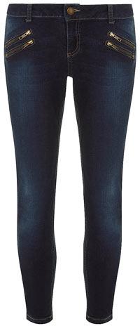 Dorothy Perkins Indigo zip pocket ankle grazer jeans