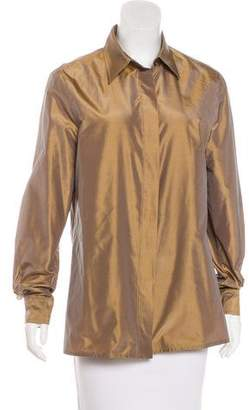 Max Mara Metallic Long Sleeve Button-Up Top