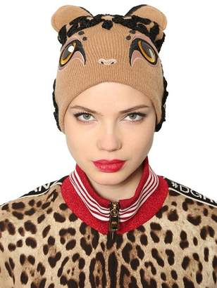 Dolce & Gabbana Leopard Wool & Cashmere Knit Beanie Hat
