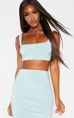 3f23f225a62513 PrettyLittleThing Mint Second Skin Slinky Square Neck Crop Top