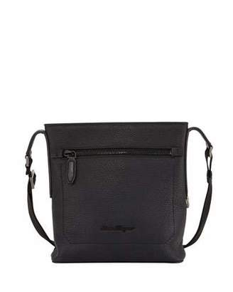 Salvatore Ferragamo Men's Black on Black Pebbled Leather Crossbody Bag, Black