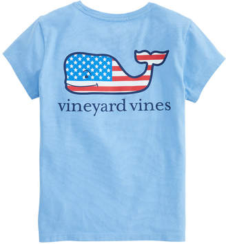 Vineyard Vines Girls Flag Whale Pocket Tee