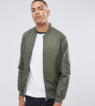 Asos DESIGN tall cotton bomber jacket with sleeve zip in khaki