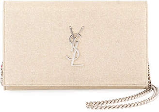 Saint Laurent Kate Monogram Sparkle Wallet on Chain