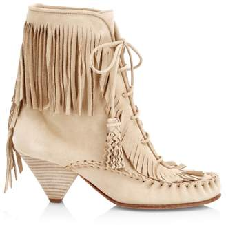 891fe0b40 Coach Fringe Suede Moccasin Ankle Boots
