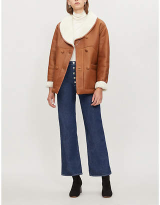 Claudie Pierlot Freeze shearling-lined leather jacket