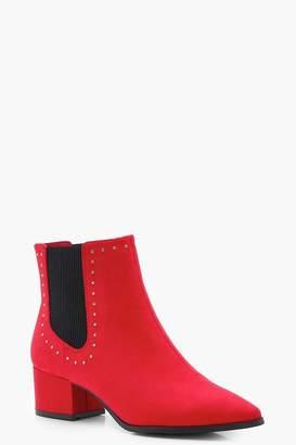 boohoo Studded Block Heel Ankle Boots