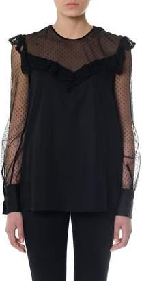 Dondup Black Crepe & Tulle Lace Blouse