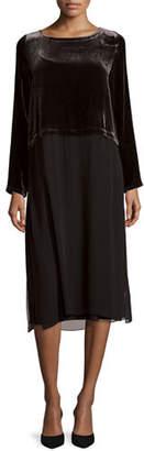 Eileen Fisher Long-Sleeve Velvet & Silk Duster Dress, Plus Size $398 thestylecure.com