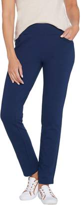 Denim & Co. Active Petite French Terry Straight Leg Pants w/Pockets
