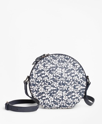 Brooks Brothers Floral-Print Saffiano Leather Cross-Body Bag