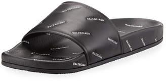 Balenciaga Men's Logo-Print Pool Slide Sandals