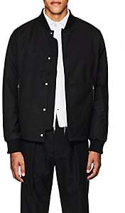 Officine Generale MEN'S WOOL-BLEND TECH-PIQUÉ BOMBER JACKET-BLACK SIZE S