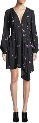Equipment Alexandria V-Neck Long-Sleeve Tossed Blossom Mini Crepe Dress