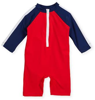 Florence Eiseman Colorblock Zip-Front Swim Bodysuit, Size 3-24 Months