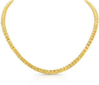 Rahaminov Diamonds 18k Radiant Fancy Yellow Diamond Tennis Necklace