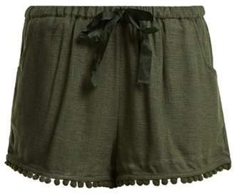 Figue Maja Tassel Hem Silk Blend Shorts - Womens - Khaki