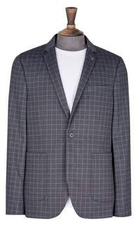 Burton Mens Big & Tall Navy Stretch Jersey Checked Blazer