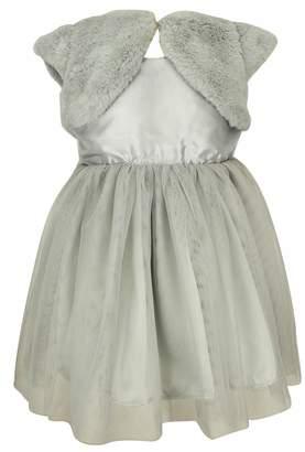 Popatu Tulle Dress & Faux Fur Shrug