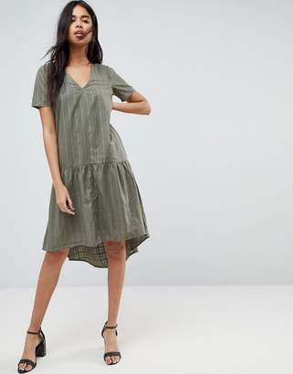 Asos DESIGN Textured Grid T-Shirt Smock Midi Dress