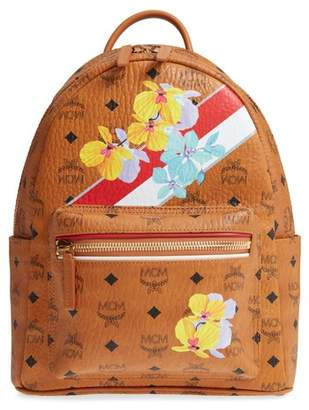 MCM Small Stark Floral Print Coated Canvas Backpack