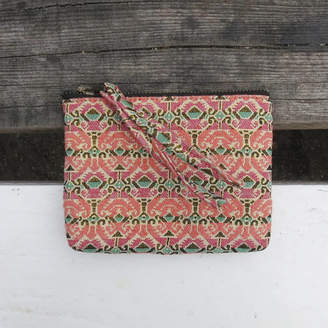 Aura Que Tilo Pattern Gold Fabric Zip Purse