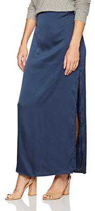 Halston Women's Satin Maxi Skirt with Slit