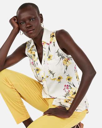 Express Slim Fit Floral Sleeveless Portofino Shirt