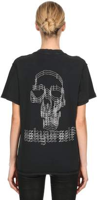 Confused Skull Cotton Jersey T-Shirt