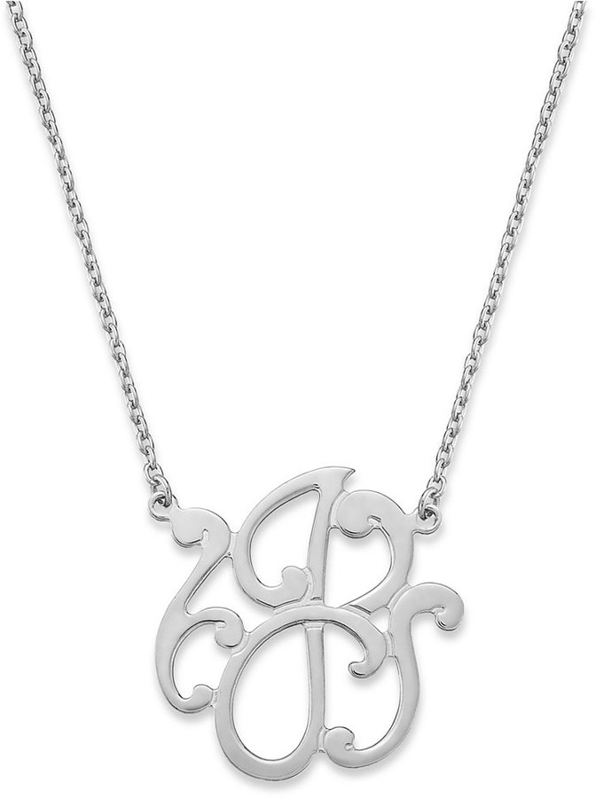Giani Bernini Sterling Silver Necklace, and#034;Jand#034; Initial Pendant Necklace