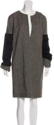 Veronique Branquinho Faux Fur-Trimmed Wool Dress w/ Tags