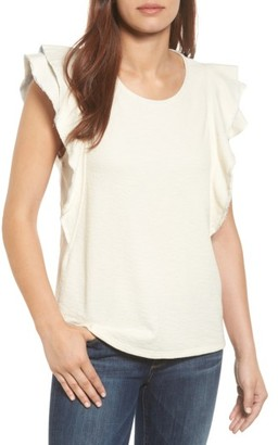 Petite Women's Caslon Ruffle Sleeve French Terry Tee $52 thestylecure.com