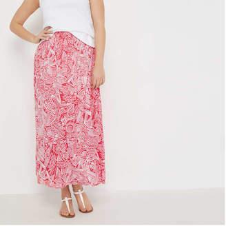 Joe Fresh Women+ Print Maxi Skirt, Fire Red (Size 1X)