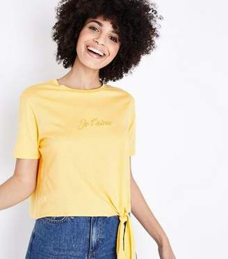 New Look Mustard Je T'aime Embroidered Tie Side T-Shirt