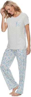 Croft & Barrow Women's Crewneck Tee & Pants Pajama Set