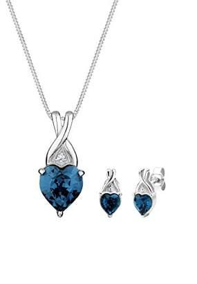 Elli 0912770414_45 Women's Jewellery Set Necklace Earrings Heart 925 Sterling Silver with Swarovski Crystals in Heart Blue
