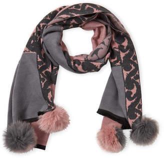 La Fiorentina Printed Real Fur Pom-Pom Scarf