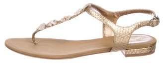 Chanel Python CC Camillia Thong Slide Sandals