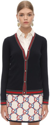 Gucci WOOL KNIT CARDIGAN W/WEB DETAIL
