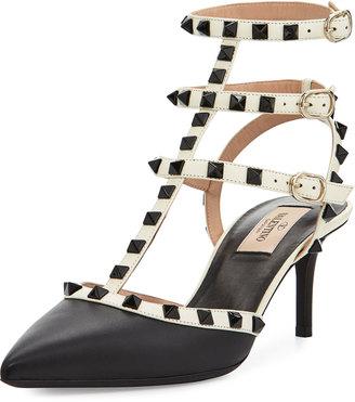 Valentino Rockstud Leather Mid-Heel Slingback $919 thestylecure.com