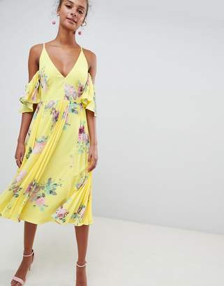 Asos DESIGN pleated plunge midi floral print dress