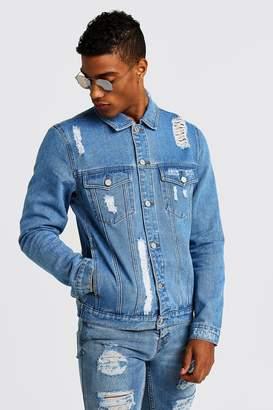 boohoo Denim Jacket With Distressing