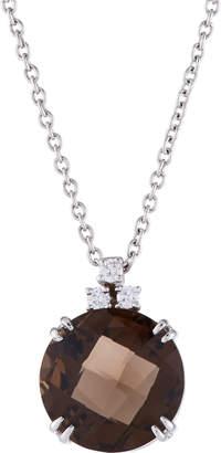 St. John Alfieri & St.John 18K White Gold Smokey Quartz & Diamond Necklace