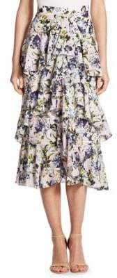 Erdem Simone Silk Floral Skirt