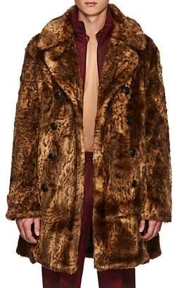 Needles Men's Leopard-Pattern Faux-Fur Oversized Peacoat