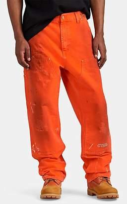 Heron Preston x Carhartt Work In Progress Men's Paint-Splatter-Detailed Cotton Workwear Pants - Orange