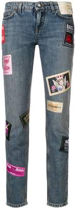 Dolce & Gabbana patched slim jeans