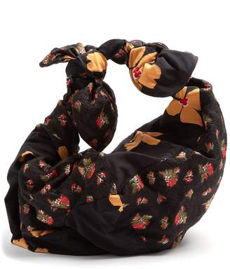 Bow-tied contrast floral-panel tote