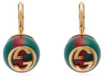 Gucci Gg Web Stripe Earrings - Womens - Green