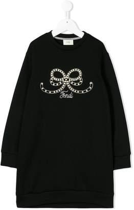 Fendi faux pearl-embellished sweatshirt dress